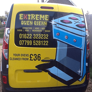back of extreme oven cleans van